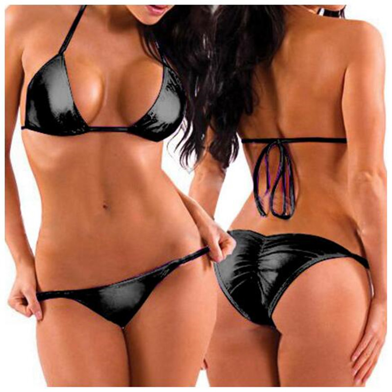 <font><b>Sexy</b></font> Women Two-Piece PU Leather <font><b>Bikini</b></font> Swimsuit Mini <font><b>Triangle</b></font> Thongs+Bra Tops,Lacing Adjust Cute Bathing <font><b>Bikinis</b></font> Set Swimwear image