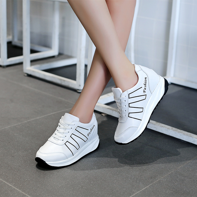 2017 autumn women s shoes increased sports shoes female new female Korean  female Real Leather jogging shoes 8844551ebd6a