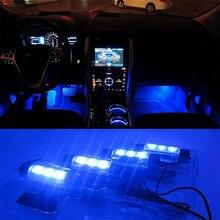Высокое качество синий 4в1 В 12 В 4x 3LED Автомобильный интерьер свет декоративная атмосфера огни автомобиля Стайлинг лампа для Ford Focus 2