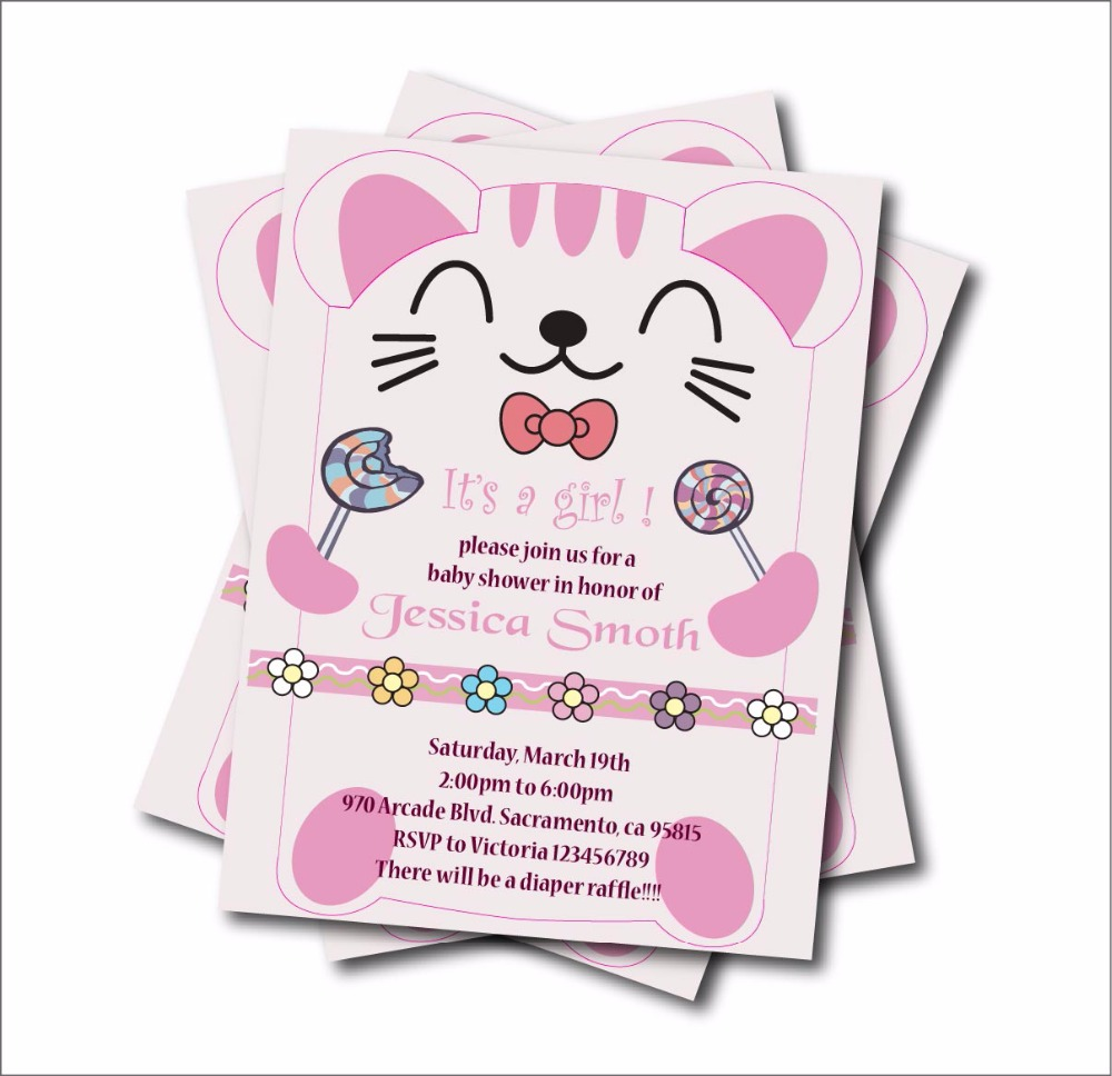 20pcs Personalized Cute Cat girls Baby Shower Party Invitations