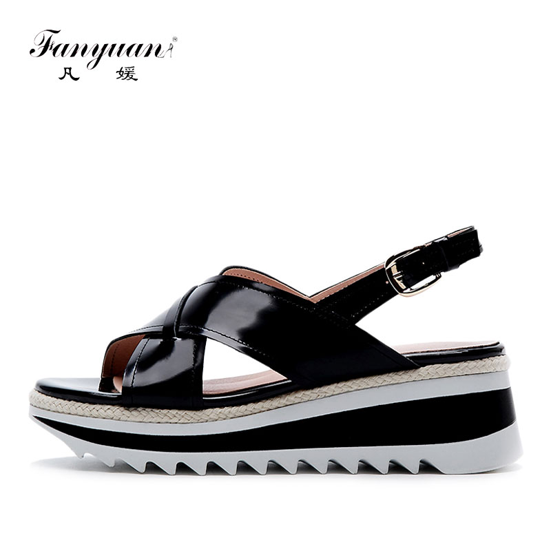 Fanyuan Summer Women Platform Sandals Genuine Leather Women Flat Sandals Comfortable Gladiator Wedge Shoes Woman White Black 2018 genuine leather women sandals shoes woman summer wedge sandals women color black sandals mother shoes hy15