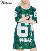 Chesmono Woman Club Hip Hop 2017 Sequin T Shirt Loose Tee Shirts Glitter Tops Christmas Girls