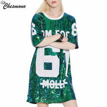 chesmono Woman Club hip hop 2018 Sequin T Shirt Loose Tee Shirts Glitter Tops Christmas girls Fashion short sleeve o neck tshirt