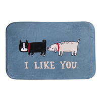 1PC Nice Cartoon Cat Dog Floor Doormat I LIKE YOU Coral Fleece Carpet Rug Door Mat
