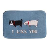 1PC Nice Cartoon Cat Dog Floor Doormat I LIKE YOU Coral Fleece Carpet Rug Door Mat