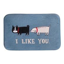1 UNID Niza Cartoon Cat & Dog piso felpudo Me GUSTAS de coral lana carpet alfombra felpudo forma cuadrada envío de la gota en venta