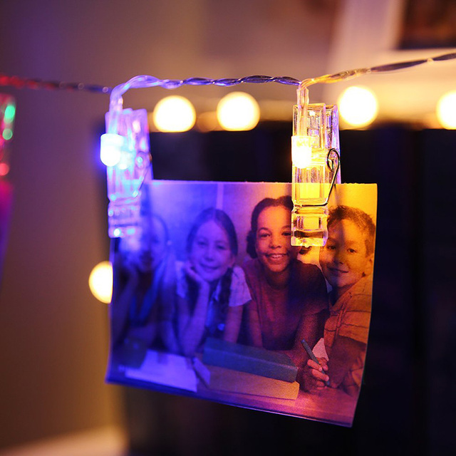 2M 20 LED Card Photo Clip String Lights Colorful Crystal Festival Party Wedding Fairy Lamp Home Decoration foto led light lamp
