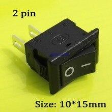 10pcs/lot KCD11 10*15mm 2Pin ON/OFF Mini Boat Rocker Switch 3A/250V Car Truck Dash Dashboard RV ATV Push Button Switch