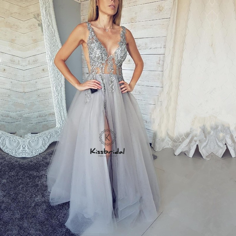 vestido formatura Sexy Backless Prom Dresses Long Appliques Tulle Evening Party Dress High Slit V-neck