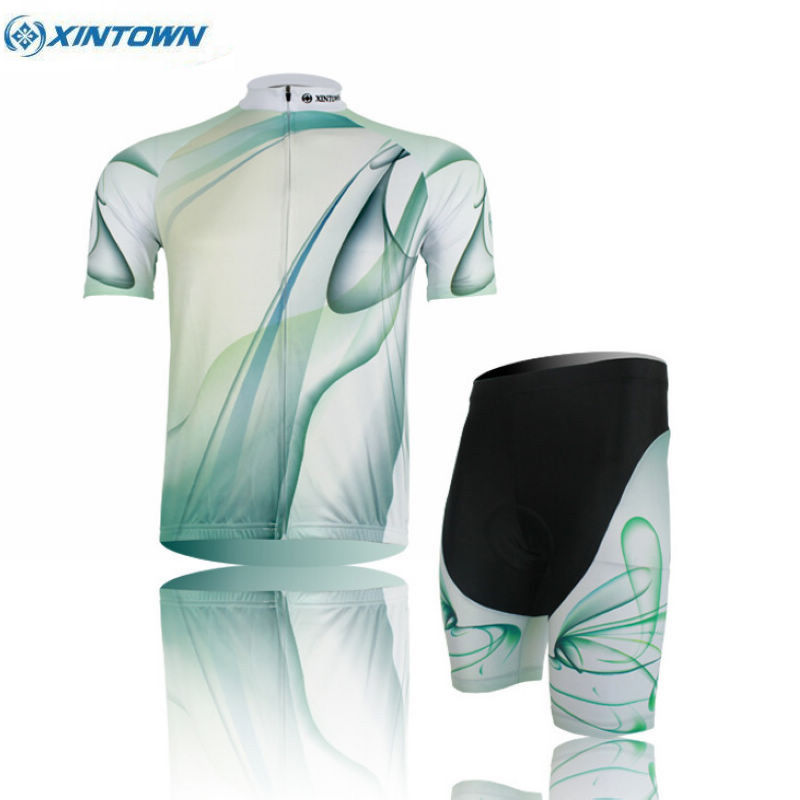 XINTOWN Team Sports Outdoor Team Cycling Jersey Sets Ropa Ciclismo Bike Bicycle Bib Top Short Sleeve Clothing Green xintown outdoor cycling polyester short sleeve jersey green white m