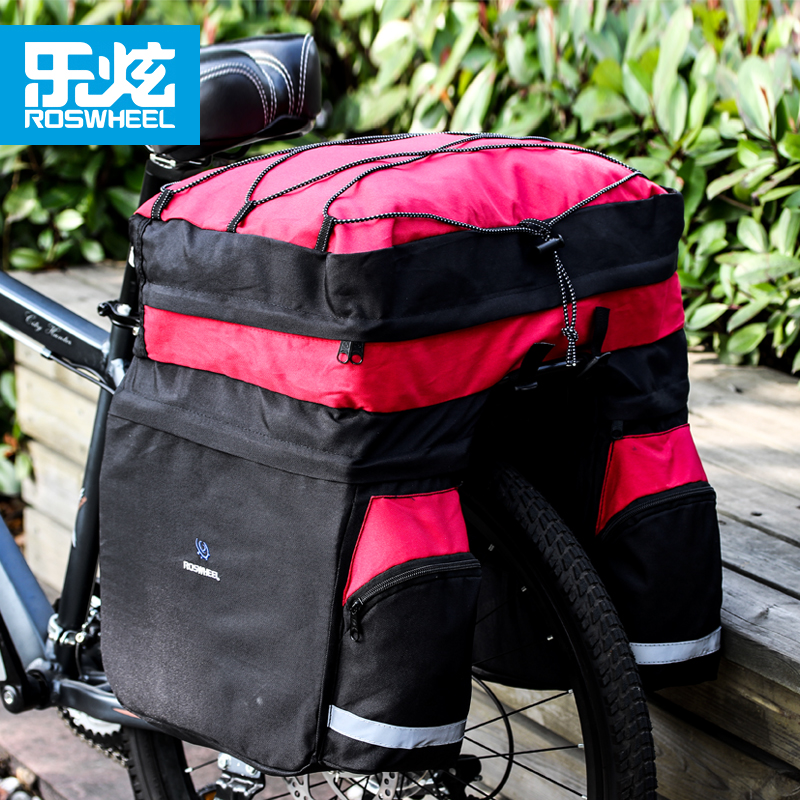 ROSWHEEL 60L Bicycle Bag Black Blue Red Double Bicycle Rear Seat Rack Trunk Bag Handbag Pannier Bike accessories