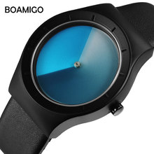 BOAMIGO Creative Designer Brand Luxury Women Watch Men Unisex Quartz Fashion Woman Clock Leather Wrist Watches For