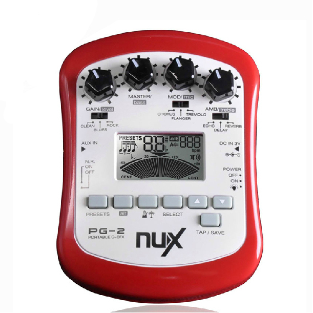 NUX PG-2 Portable Guitar Multi Effects Chromatic / Guitar Pedal Tuner Metronome & Guitar Mode with Noise Gate Brand New electric guitar effector multi function guitar composition upgrade stylesound tuner drum machine integrated digital effects