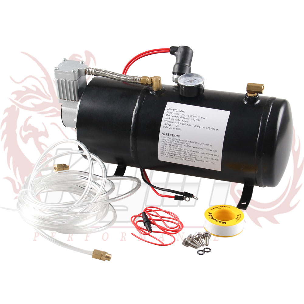 12v air compressor with 3 liter tank for air horn train - Compresseur 12 volts ...