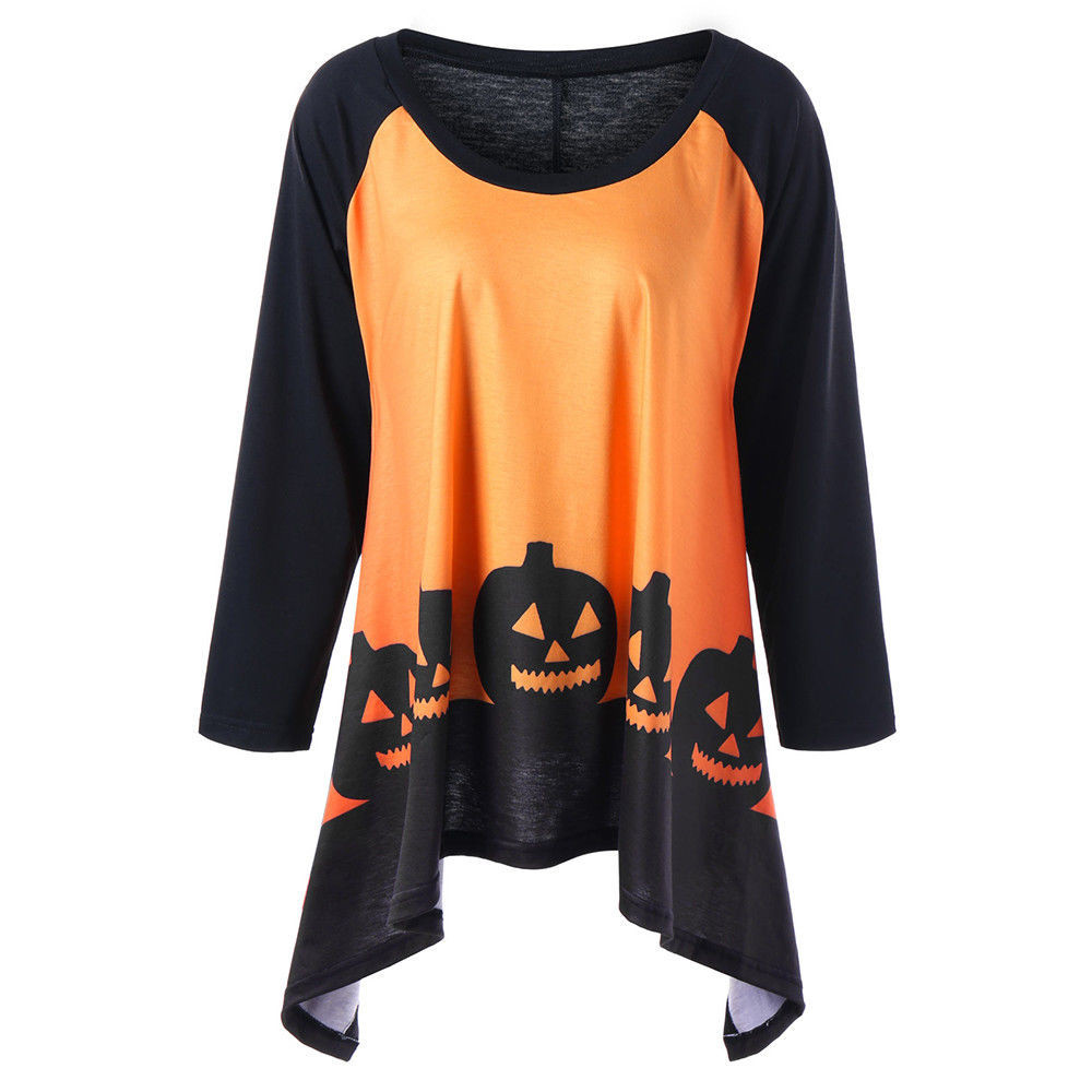 Plus size womens tops and blouses autumn tunic halloween pumpkin print blouse 2018 women clothes ladies tops fashion clothing