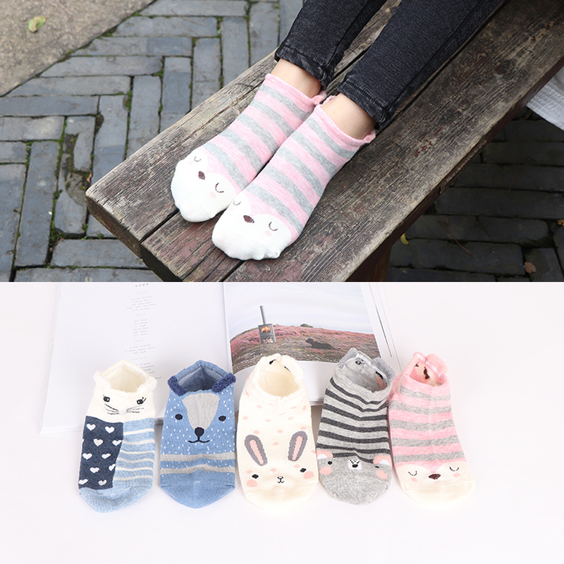 2019 Women's Short Socks Cute Lovely Kawaii Cartoon Sweet Cotton Women Socks Casual Women Ankle Socks Funny Socks Female