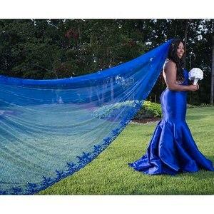 Image 2 - חדש מלכותי כחול 3 מטרים בלינג פאייטים תחרה ארוך קתדרלת חתונת רעלה צבעוני כלה רעלה עם מסרק