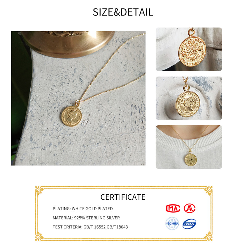 INZATT Queen Medallion Six Pence New Pendant Necklace For Women 100% 925 Sterling Silver Fashion Jewelry 45CM Cross chain Gift