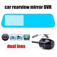 Best Selling Dual Lens 4 3 Inch LCD Car Rear View Mirror DVR With Backup Reverse