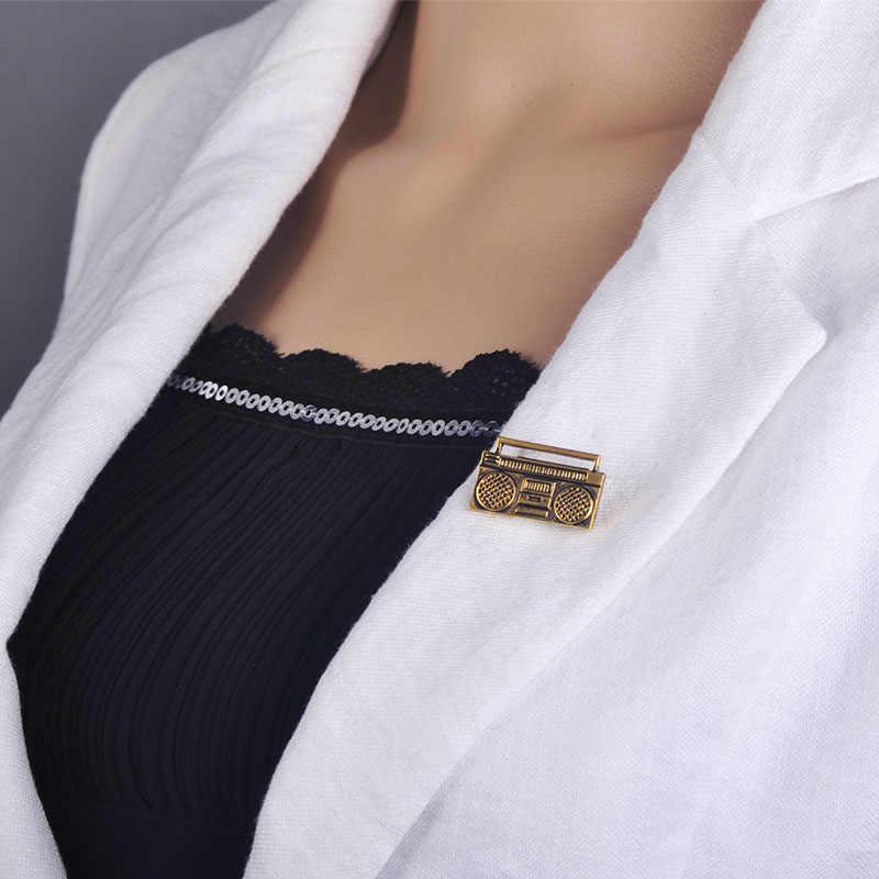 Funmor винтажная диско-радио фигурная брошь корсаж античный золотой цвет для женщин и мужчин музыкальный плеер одежда костюм украшение для отворота хиджаба булавка