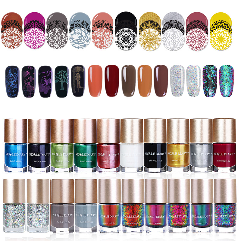 купить NICOLE DIARY Nail Polish Set Stamping Holographic Shiny Glitter Chameleon Metallic Nail Art Lacquer Varnish 9ml 5/6 Botttles по цене 880.57 рублей