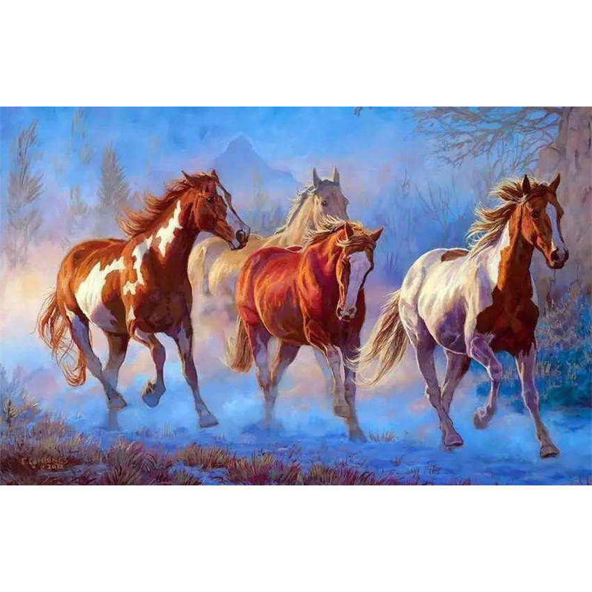 DIY Digital Painting By Numbers Package The Horse pentium oil painting mural Kits Coloring Wall Art Picture Gift frameless