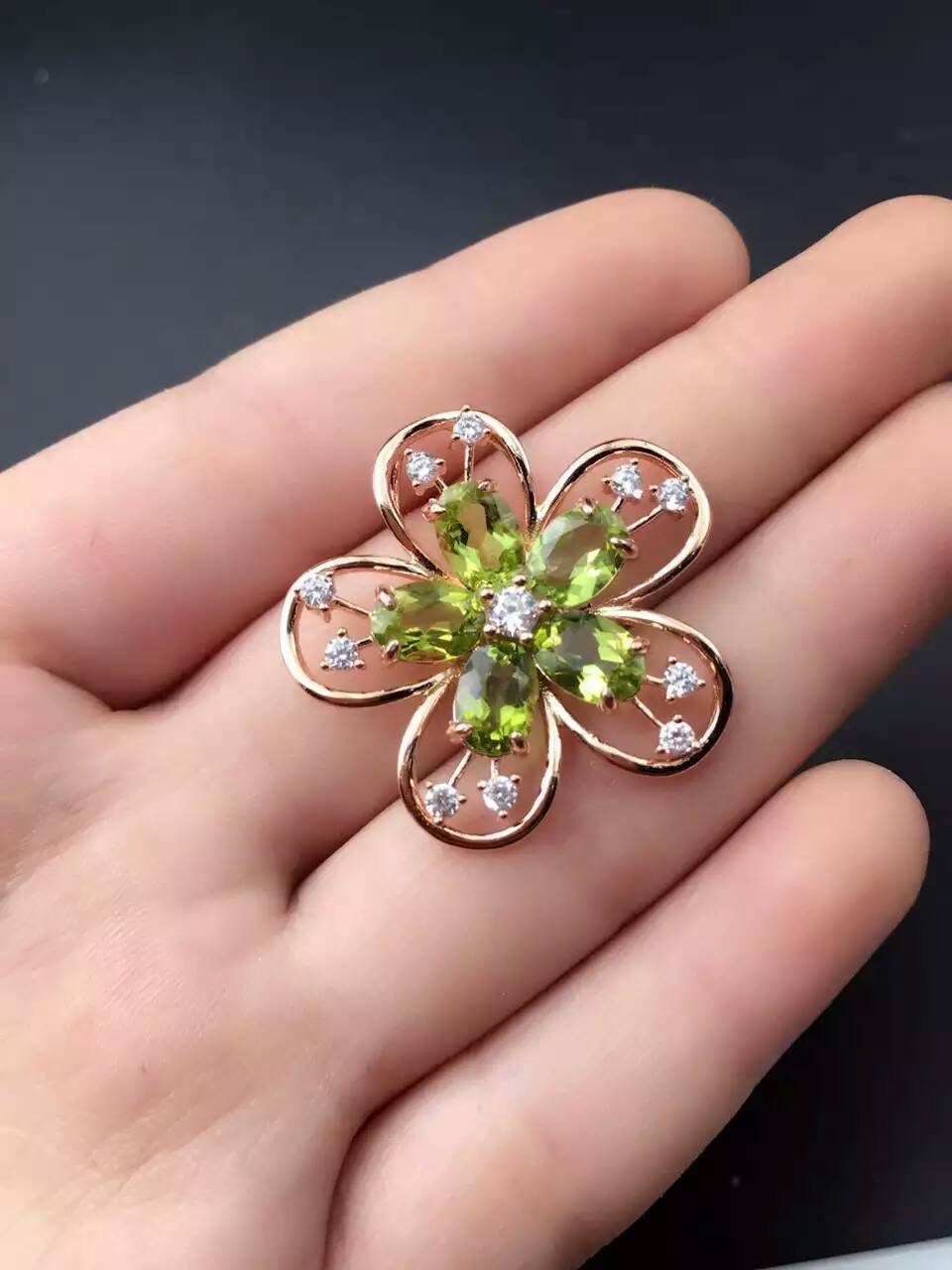 natural peridot stone pendant S925 silver Natural olivine Pendant Necklace trendy Elegant Flowers peach women party fine jewelry