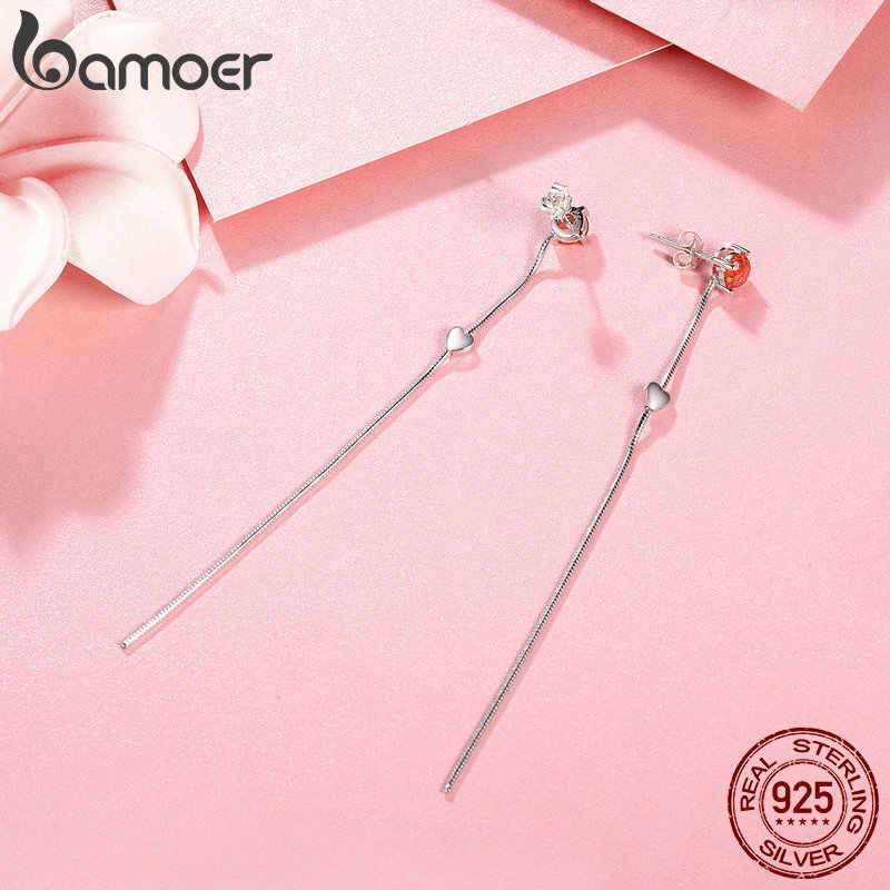 26e608fcd ... BAMOER Authentic 925 Sterling Silver Deep Love Heart Red Crystal Long  Tassel Drop Earrings for Women ...