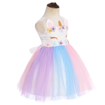 Cute Flower Unicorn Rainbow Dress