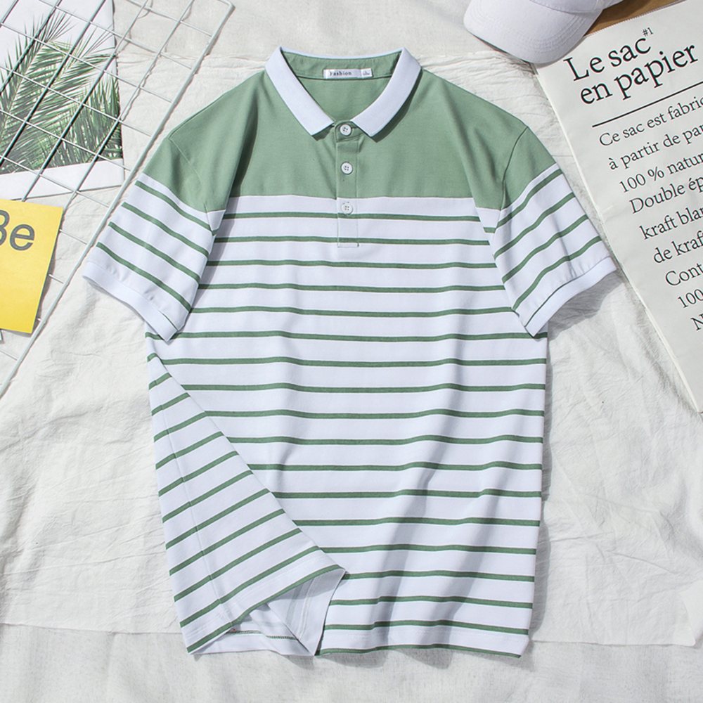 New Man Polo Shirt Mens Business Casual Striped Male Polo Shirt Short Sleeve High Quality Cotton Short Sleeve High Quantity polo in Polo from Men 39 s Clothing