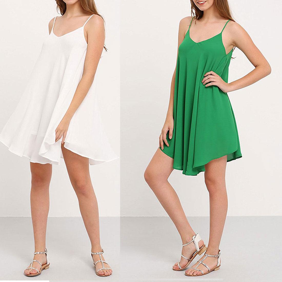 2017 Good Quality 39 s Summer Casual V Neck Spaghetti Strap Sundress Sleeveless Beach Slip Dress in Dresses from Women 39 s Clothing