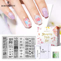 BORN PRETTY 9 Pcs Stamping Set Spring Flowers Pattern Stamping Plate Kit with Clear Stamper Scraper Template Set