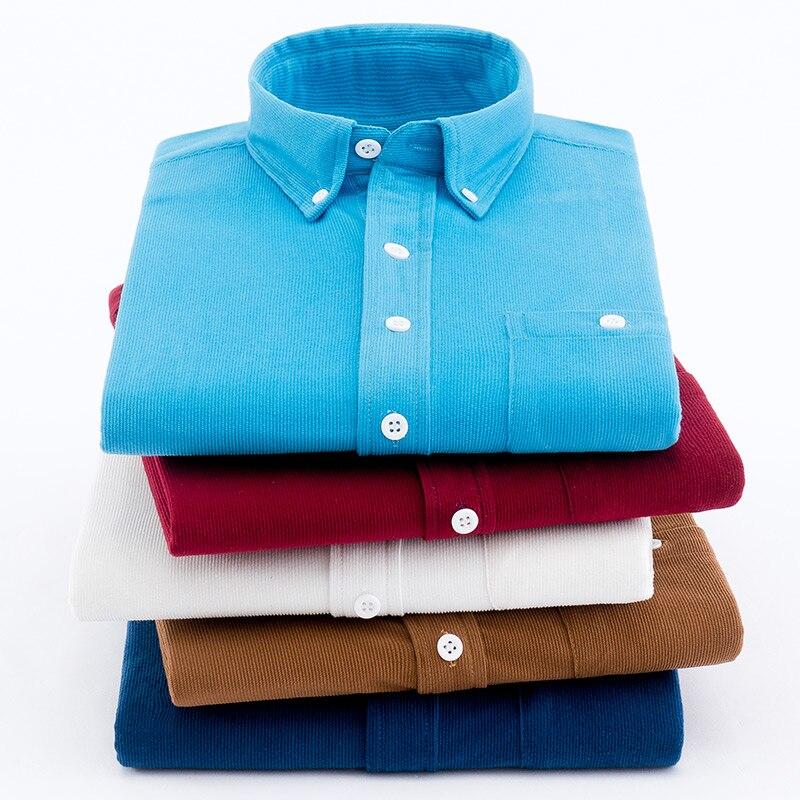 2019 Corduroy Men Shirts Vintage British Pure Color Stripe Leisure Men's Clothing Long Sleeve Men Shirt For Autumn Winter Casual