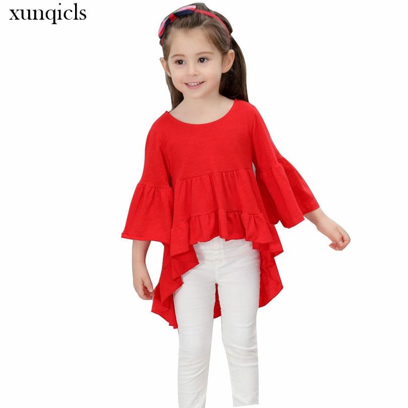 Xunqicls 2-9Y ฤดูใบไม้ร่วงสาวแขนยาวชุดฤดูใบไม้ผลิเด็กชุดเจ้าหญิงของแข็งเด็กเด็กสาวเสื้อผ้า