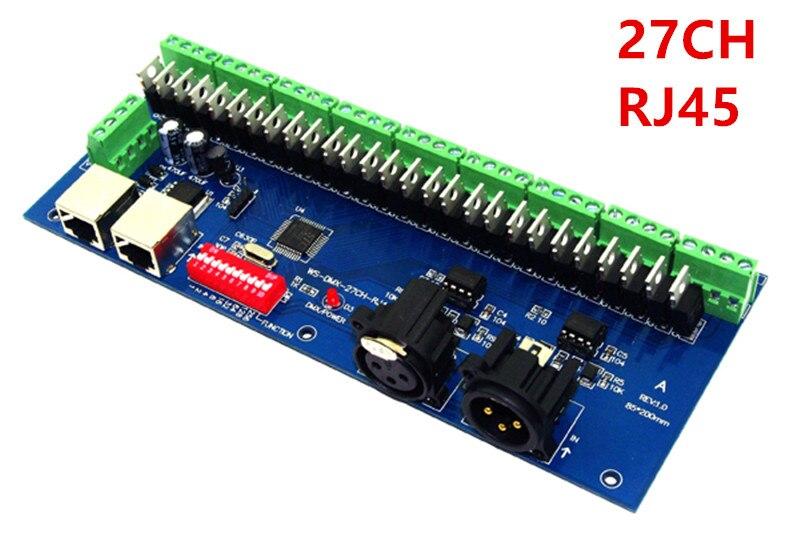 wholesale 27CH Channel with RJ45 9 group max 3A DMX512 XPL 3P LED Decoder controller for DC12V 24V RGB led module strip lights