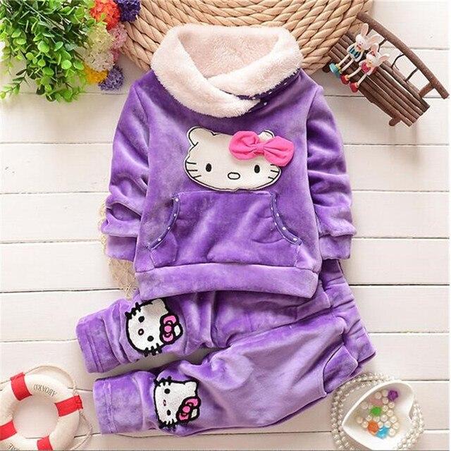 2016 new Autumn/Winter baby girls clothing sets children velvet warm clothes set kids girls cartoon coats+pants 2pcs suits