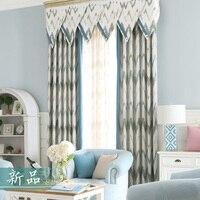 Cửa Sổ màn Rèm Cửa Cho Phòng Khách Jacquard Bông Bảng Điều Chỉnh Màn Màu Xanh Sọc Vải Mù Nhung Vải Tuyn Sang Trọng Đường Viền Bằng Vải New