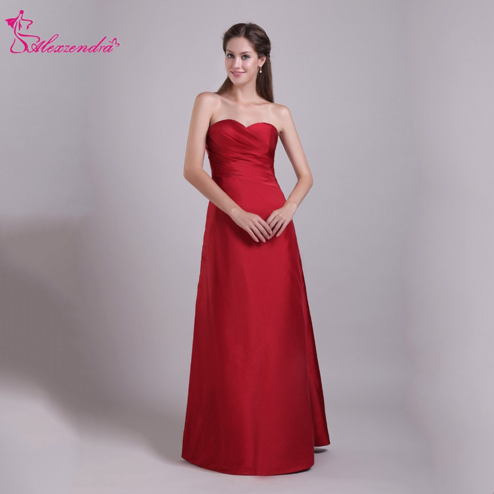 Alexzendra Dark Red A Line Long Satin Mother Of Bride