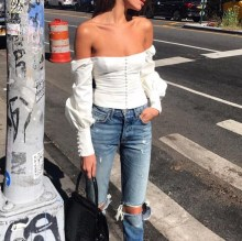 Elegant Long Sleeve Women Blouse Shirt Summer Ladies Tops Sexy White Female