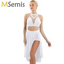 Bale elbise yetişkin kadın asimetrik lirik dans kostümleri bale Leotard kadınlar Halter boyun Backless kırpma üst etek ile