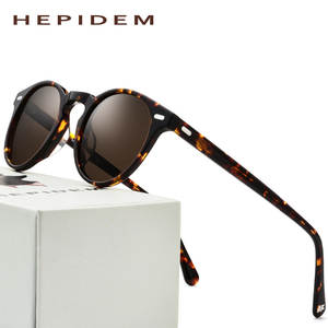 376fc39fa7 hepidem Polarized Sunglasses Men 2018 Round Vintage Retro