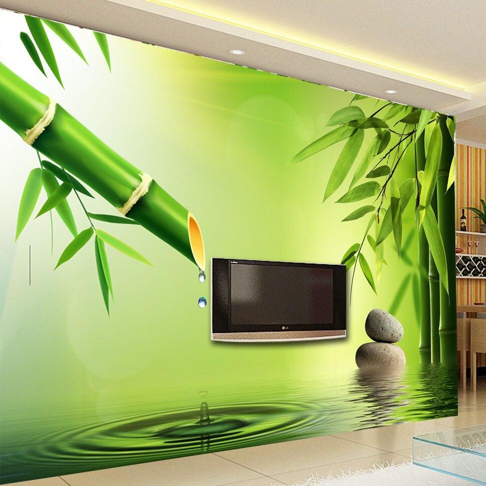 Benutzerdefinierte 3D Fototapete Stereoskopischen Grn Bambus Wasser Tropfen Hintergrund Wandbilder Fr Wohnzimmer Dekoration Tapete