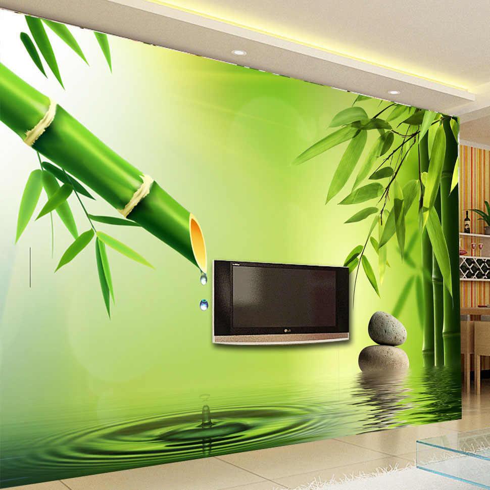 Kustom 3D Foto Wallpaper 3D Stereoscopic Hijau Bambu Air Tetes Latar Belakang Mural Dinding untuk Ruang Tamu Dekorasi Wallpaper