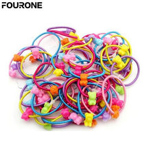 Children Kids Girls Bags Plastic Rubber Fashion Hair Clip Candy Color For Hair Headband Band 50 Root(China)