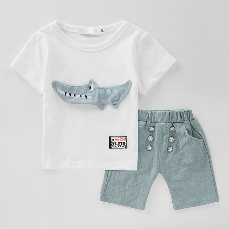 Newborn Baby Clothing Set Boys White Cartoon Shirt+Shorts Suit for Bebe Boys Sports Suit Kids Summer Clothes Outfits