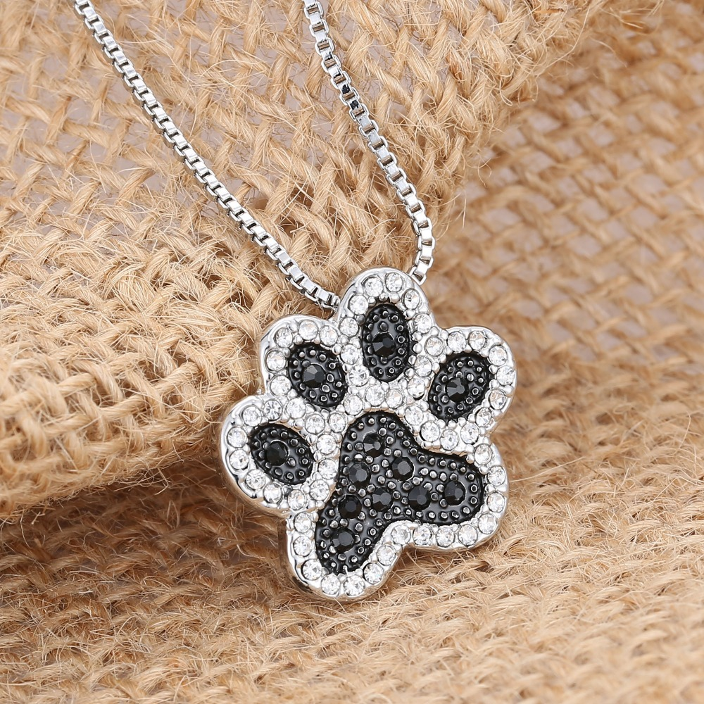 Silver Plated Black And White Crystal Rhinestone Dog Paw