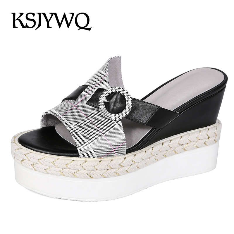 KSJYWQ Women's Open-toe Platform Sandals 10 CM High Wedges Summer Style Slipper Thick Soles Sexy Buckle Shoes Box packing 6609 summer causal open toe buckle high heeled thick waterproof platform sandals for women