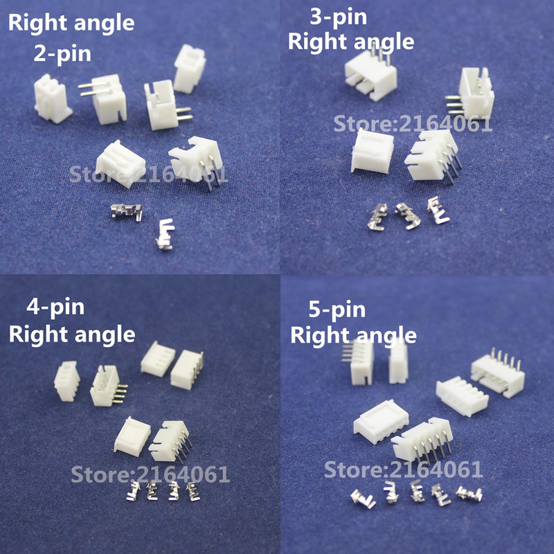 Free Shipping 50 sets 2/3/4/5pin Right angle 2.54mm Pitch Terminal/Housing/Pin Header Connector Wire Connectors Adaptor XH2P Kit 80 sets zh 1 5mm pitch terminal housing right angle pin header connector with box zh 1 5mm connectors