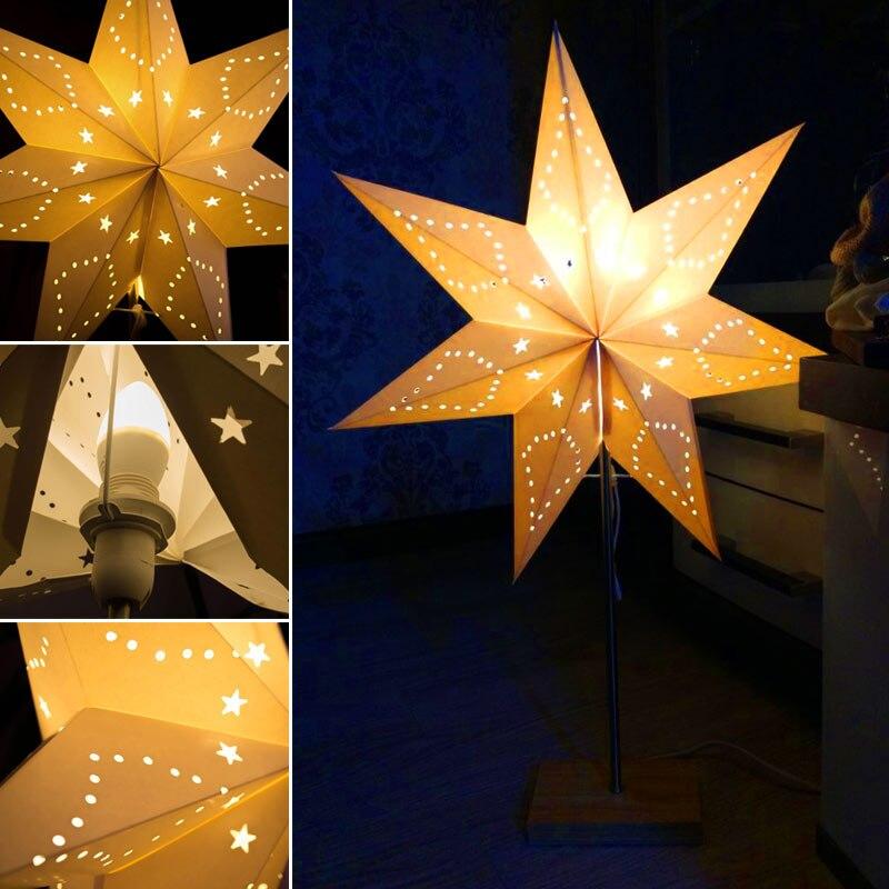 Aliexpress Led Schreibtischlampe Tischleuchte Paper Star Holz Lampe Nordic Design Der Modernen Retro Minimalistischen Nachttischlampe Wohnzimmer