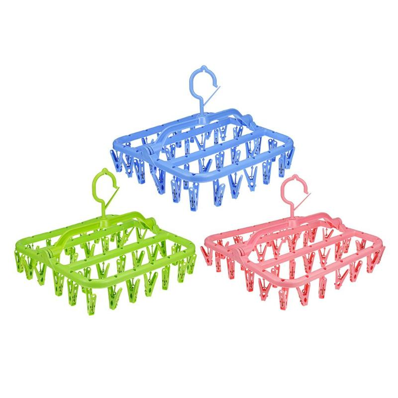 32 Clips Portable Socks Cloth Hanger Rack Folding Drying Storage Holder Foldable Bra Underwear Drying Hangers Hanging Dryer
